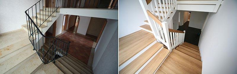 Treppenhaussanierung Stuttgart – vorher / nachher